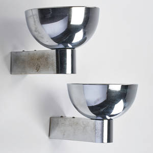 French art deco pair of nickelplated sconces 1930s unmarked 6 34 x 7 34 x 10 34