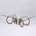 Alain chervet attr coffee table 1970s brass ibex heads glass unmarked 18 x 58 x 34 12