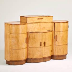 English art deco bar cabinet 1920s birds eye maple rosewood walnut unmarked closed 46 x 74 x 22 open 58 x 74 x 28