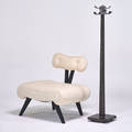 Hollywood regency grosfeld house attr lounge chair and james mont attr floor lamp base usa ca 1940s painted wood upholstery unmarked chair 30 x 33 x 26 floor lamp 56 x 11 12