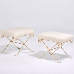 Hollywood regency pair of greek key benches usa 1980s silvered steel upholstery unmarked 18 12 x 21 x 17