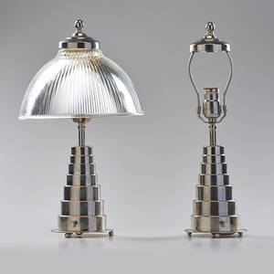Art deco pair of table lamps one missing shade chromed steel pressed glass one with retailer label with shade 17 12 x 10