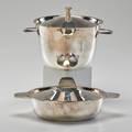 Gio ponti krupp berndorf two lidded casseroles austria 1950s silver plate both marked taller 7 x 6 12 x 11