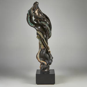 Mark r davies american 20th c ceramic sculpture of woman in flowing shapes on stone base 88 34 with base