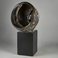 Mark r davies american 20th c ceramic orb circa 1990 66 with base
