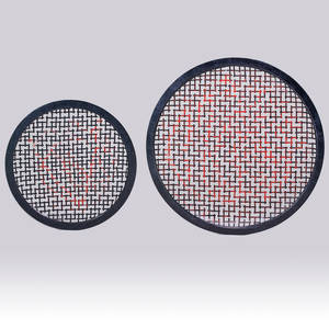 Contemporary two round wallhanging sculptures granite enameled steel unmarked larger 48 dia smaller 36 dia