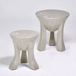 Style of john dickinson two pawfooted stools painted plaster unmarked taller 20 12 x 19 shorter 18 x 24 34