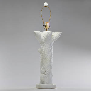 Style of john dickinson plaster table lamp in form of tree usa 1960s unmarked to finial 33 x 11
