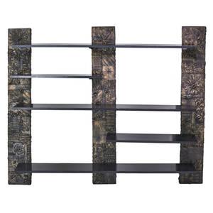 Style of paul evans wallhanging shelf unit patinated composite brushed aluminum enameled wood unmarked 80 x 100 x 17 12