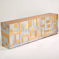 Style of paul evans large cabinet usa 1970s matte and bright chromed steel brass burl wood laminate interior unmarked 36 x 108 x 19