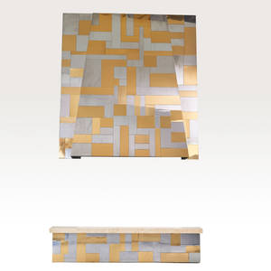 Style of paul evans fireplace surround hood and hearth usa 1970s matte and bright chromed steel brass and travertine unmarked hood 76 12 x 70 12 x 14 hearth 15 12 x 68 x 18