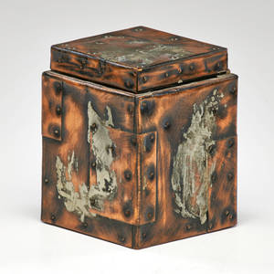 Style of paul evans patchwork humidor new hope pa 1970s copper wood and cork unmarked 6 x 4 14 x 4 14