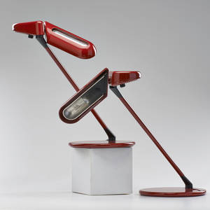Bruno gecchelin arteluce pair ring adjustable table lamps italy 1970s enameled steel marked as shown 15 12 x 20 x 11 12