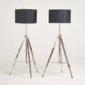Contemporary pair of adjustable floor lamps india 2000s nickeled brass linen shades manufacturers labels each as shown 52 x 28 dia
