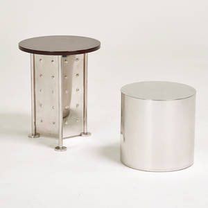 Phillippe starckdriade paul mayenhabitat two side tables franceusa 1990s1970s stainless steel mahogany polished aluminum manufacturers markings mayen table signed starck 20 x 16 di