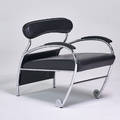 Moroso numero uno chair italy 1980s chromed steel enameled wood leather 30 x 26 12 x 36