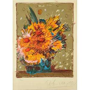 Peter max american b 1937 screenprint in colors of flowers in a vase 1978 framed signed and numbered 78300 27 x 20 sheet