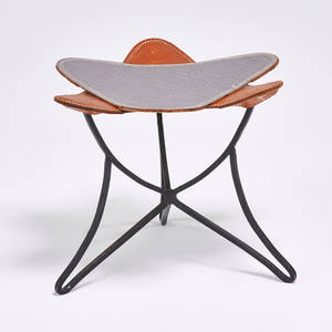 Vladimir kagan triangular stool with iron tripod base and two interchangeable leather seats new york 1950s unmarked 14 x 16 x 16