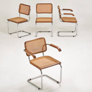 Marcel breuer gavina set of four cesca chairs two arm two side italy 1960s chromed steel beech cane unmarked arm 31 x 24 x 23