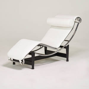 Style of le corbusier adjustable chaise lounge italy 1970s chromed and enameled steel leather rubber manufacturers markings 31 x 66 x 22