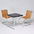 Mies van der rohestendig eileen graysteelclassic two cantilevered side chairs and jeant fliptop table italy 1990s chromed steel woven reed laminate chairs marked chair 32 x 18 x 31