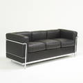 Le corbusier cassina lc2 sofa new yorkitaly 2000s leather chromed steel upholsterers label printed on dust cover 26 12 x 72 x 28