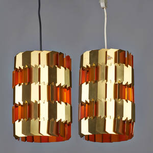Louis weisdorf lyfa pair of pendant lamps sweden 1960s anodized and enameled aluminum single sockets manufacturer label to one 11 x 8 dia