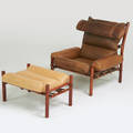 Arne norell inka chair and ottoman sweden ca 1965 leather stained beech brass foil label to chair 36 x 35 12 x 36