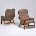 Danish style pair lounge chairs 1970s stained beech upholstery unmarked 37 x 29 x 36