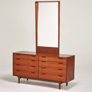 Ib kofodlarsen attr selig teak dresser and mirror denmark 1960s metal manufacturer label mirror 51 x 26 dresser 30 12 x 59 x 17 12