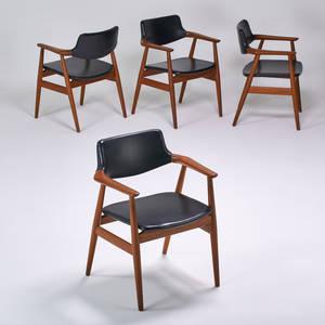 Glostrup mobelfabrik four armchairs denmark 1960s teak vinyl one with foil label 30 x 24 12 x 22
