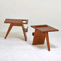 Style of jens risom pair of magazine tables teak unmarked 18 x 22 x 16