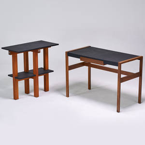 Style of jens risom desk and side table usa 1970s wood slate vinyl unmarked desk 29 x 42 x 22 table 32 x 32 x 17