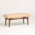 Style of jens risom bench usa 1960s walnut leather unmarked 19 x 42 x 18