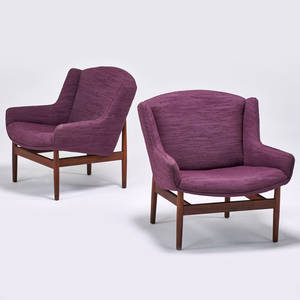 Jens risom jens risom design pair of lounge chairs usa 1950s sculpted walnut upholstery 30 12 x 29 12 x 30