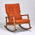 Jens risom design within reach rocking chair usa 2000s walnut upholstery branded and labeled 39 x 29 x 39
