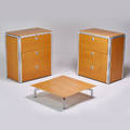 Arne jacobsen pair of djob file cabinets and low table denmark 1990s beech aluminum plastic birch enameled metal unmarked cabinet 38 12 x 34 x 20 12 low table 9 x 33 sq