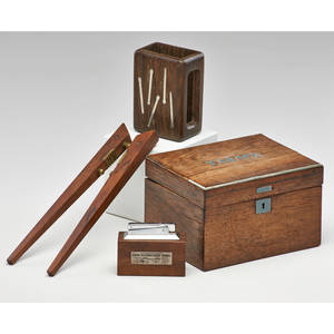 Hans hansen etc threepiece smokers set humidor match case and lighter with similar nutcracker denmark mid20th c rosewood walnut lighter and nutcracker marked humidor 4 x 6 12 x 5