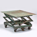 Industrial adjustable scissor table usa 1940s enameled steel casters unmarked as shown 23 x 43 x 33
