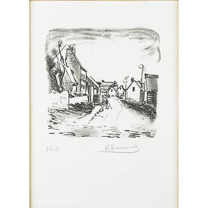Maurice de vlaminck french 18761958 four two lithographs on tissue paper one of a landscape one of a village both signed and numbered hc together with two lithographs in colors of landsca