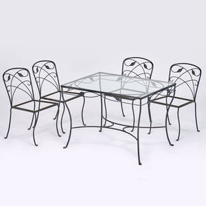 Salterini attr dining set glass top table and four chairs usa 1980s wrought iron unmarked table 39 x 40 12 x 30 12 chairs 31 12 x 17 14 x 20