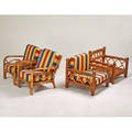 Garden seating four lounge chairs usa 1950s bamboo rattan upholstery taller 33 x 28 12 x 38