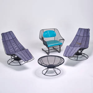 Sun ray woodard outdoor set two chaise lounges low table and woodard lounge chair usa ca 1960s enameled steel vinyl upholstery unmarked chaise 38 12 x 27 x 58 table 15 12 x 31
