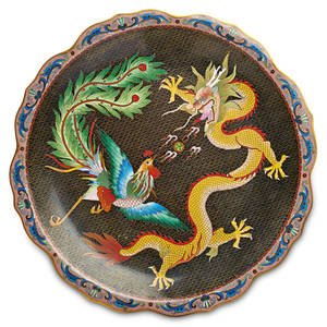 Chinese cloisonne charger depicting scene of phoenix and dragon unmarked 15 12 dia