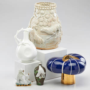Ceramics group three asian vases lotus ware pitcher and similar austrian figure 20th c all marked tallest 9 12 x 6 12