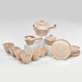 Ceramic tea set nine pieces tea kettle six cups and saucers sugar and creamer 1970s all marked 4 34 x 8