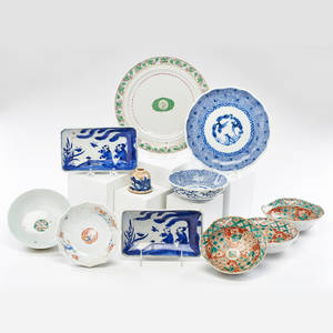 Famille verte etc five 5 bowls and plate 1 together with five 5 piece blue and white chinajapan early 20th c famille verte bowl 2 x 6 dia