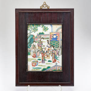 Chinese porcelain plaque with handpainted scene of figures in garden 20th c signed 19 12 x 14 34 x 34