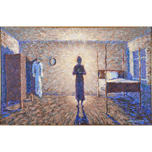 Banks clayton american 20th c oil on canvas of a woman in a bedroom mrs renyard gets dressed 1994 framed signed and dated 24 x 36