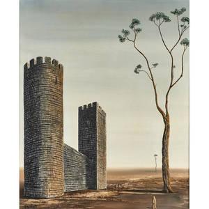 Alvaro guillot uruguayan1931  2010 oil on canvas of a surreal landscape with castle 1968 framed signed 30 x 24